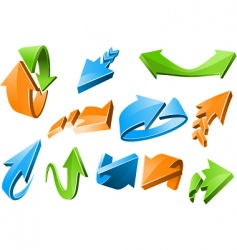 3D arrow signs vector image vector image