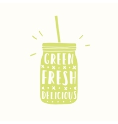 Green fresh delicious green jar silhouette vector
