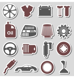 Car parts store simple stickers set eps10 vector