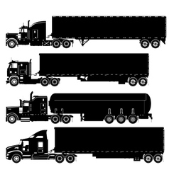 detailed trucks silhouettes set vector image