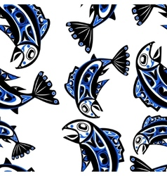 Native salmon seamless pattern vector
