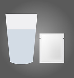 Glass of water and the powder in the packet vector