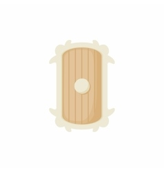 Shield of wood icon cartoon style vector