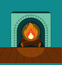 A lighted fireplace on the background of a cozy vector