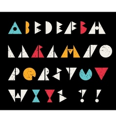 Abstract alphabet letters in retro style vector