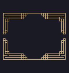 Art deco frame vintage linear border design vector