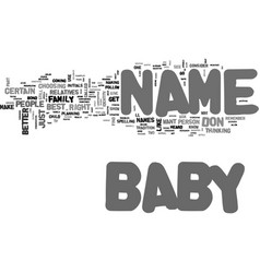 Baby name text word cloud concept vector