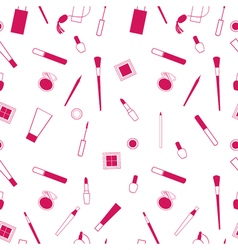 Beauty and care cosmetics red and white seamless vector