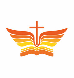 Bible cross and wings vector