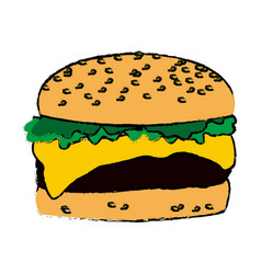 Burger fast food cheese lettuce bread delicious vector