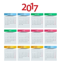 Calendar 2017 design stationery template vector image