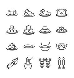 Chinese ancestor worship line icon set vector