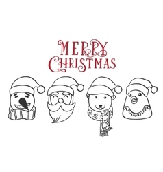 Christmas charactersSanta Claus Penguin vector image