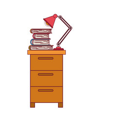 colorful graphic of filing cabinet with lamp and vector image vector image