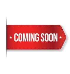 Coming soon red ribbon vector image vector image