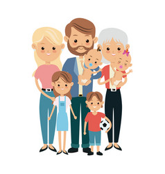 Cute people family members together happiness vector
