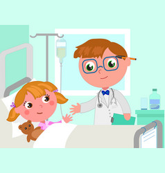 doctor and girl in hospital bed vector image