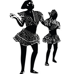 Drawing of couples dancing vector