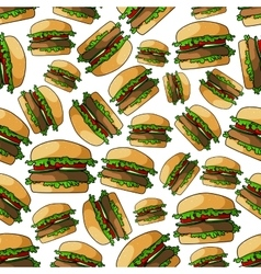Fast food burgers seamless pattern vector
