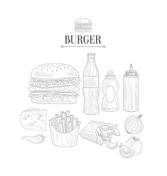 Fast Food Lunch Set Hand Drawn Realistic Sketch vector image