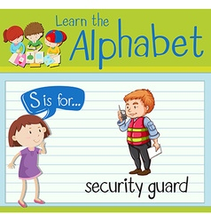 Flashcard letter s is for security guard vector