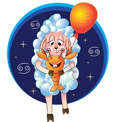 funny sheep for the zodiac sign of Cancer vector image