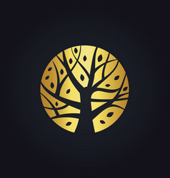 Gold tree decoration logo vector