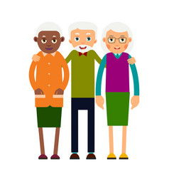 Group older people three aged people black and vector