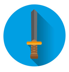 icon is a sword on a blue background vector image vector image