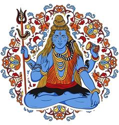 Indian god shiva over ornate mandala background vector