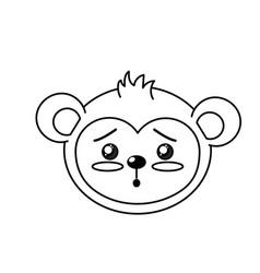 Line cute wild animal face with expression vector