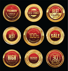 luxury golden retro badges collection 05 vector image