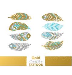metallic temporary tattoos gold silver ethnic vector image vector image