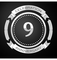 Nine years anniversary celebration with silver vector image