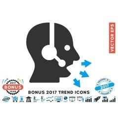 Operator speak flat icon with 2017 bonus trend vector