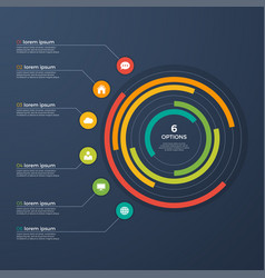 presentation infographic circle chart with 6 vector image vector image