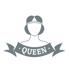 queen logo simple gray style vector image