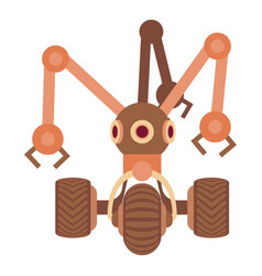 Robot with three tentacle icon cartoon style vector
