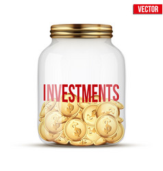 saving money coin in jar with investments label vector image vector image