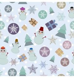 Seamless pattern new year snowflake snowman sheep vector image vector image