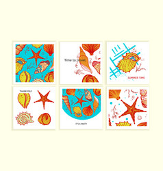 Set of colorful cards with seashells vector