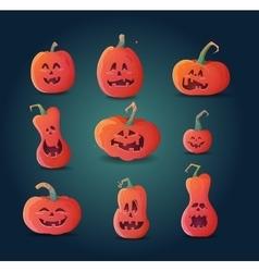 Set of terrible pumpkins on a dark background vector