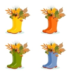 Set with autumn leaves in rubber boots vector