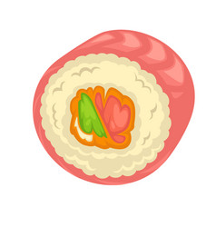 Sushi roll filling flat icon for japanese vector