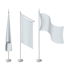 Various white flags and banners pictograms vector