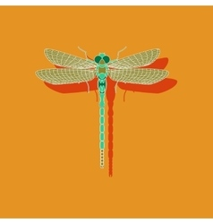 Paper sticker on background of dragonfly vector