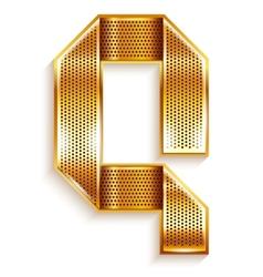 Letter metal gold ribbon - Q vector image