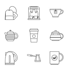 Types of drinks icons set outline style vector