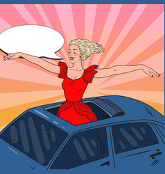 Pop art blonde woman standing in a car sunroof vector