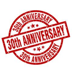 30th anniversary round red grunge stamp vector